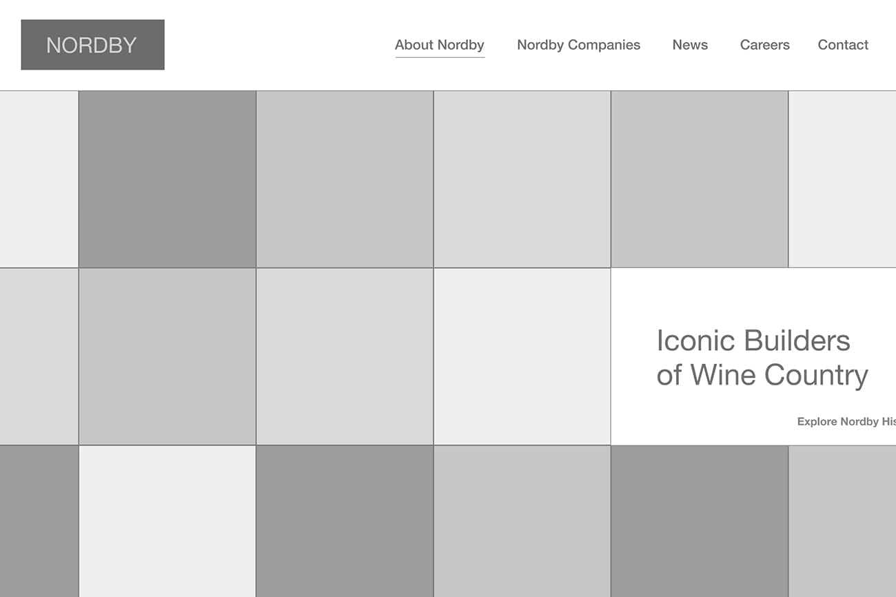 Nordby home page wireframe