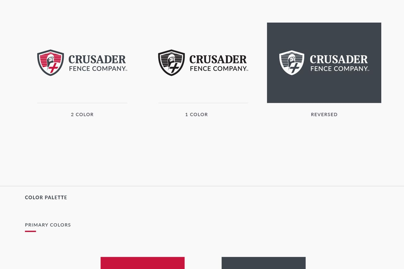 Crusader fence Company brand guidelines