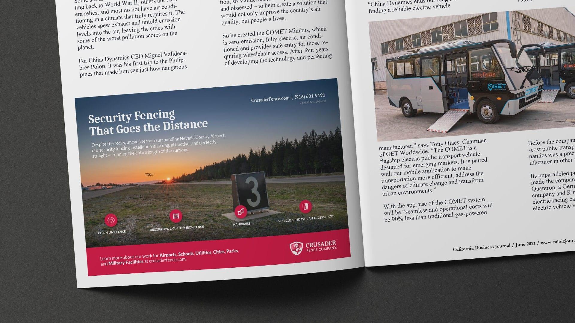 Crusader Fence Company magazine ad
